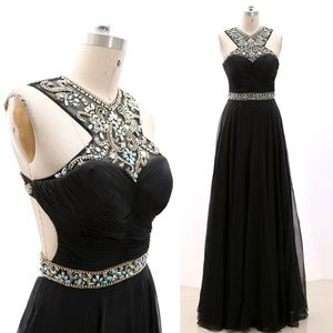 Halter Crystal Black Prom Ball Gown Formal Evening